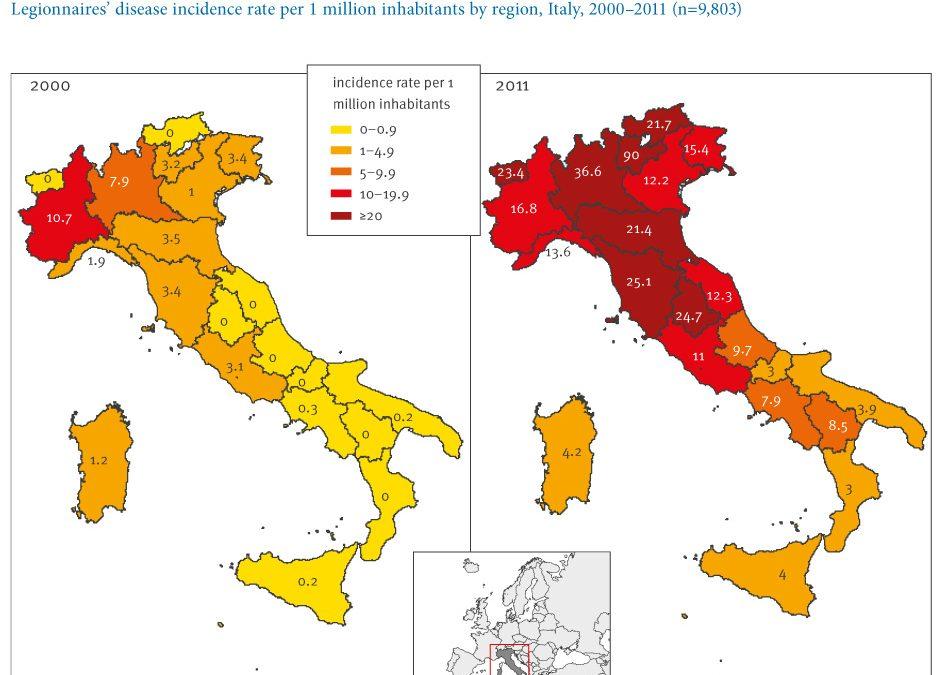 Oltre 18.000 casi di legionella in Italia